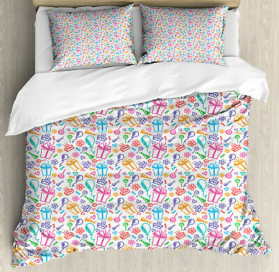 Birthday King Size Duvet Cover Set Kids Baby Doodle Icons with 2 Pillow Shams