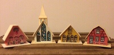 Vintage Set Of 4 Plastic Alpine Village Christmas Light Covers House Church Barn
