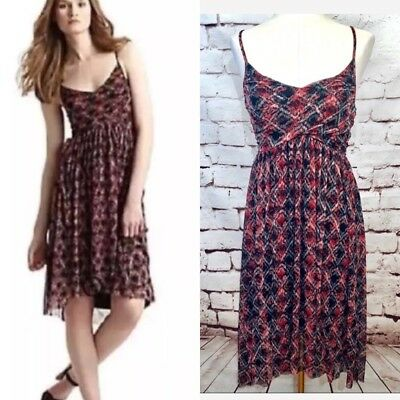 Free People Red Black Floral Check Plaid Mesh Overlay High Low Dress Size S