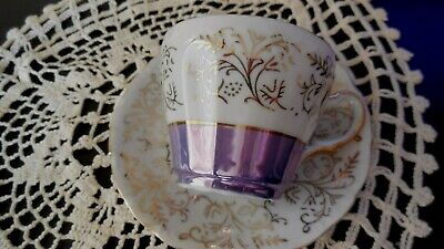Vintage Fine China Small Tea Cup And Saucer, Japan Purple and Gold Retro