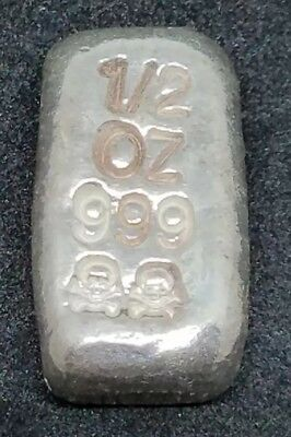 .999 Fine Silver Hand Poured Bar Bullion Pure SILVER 1/2 oz. skull & cross bones