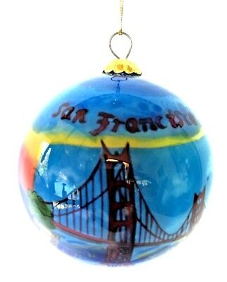 San Francisco Hand-Painted Glass Christmas Ornament