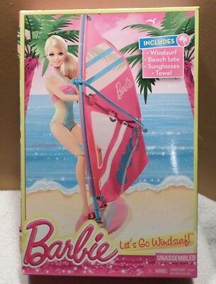 4 Piece Accessory Set Beach Tote Sunglasses Towel NEW BARBIE LET/'S GO WINDSURF