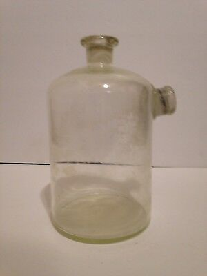 "Large Glass Science Laboratory Bottle Double Spouts Unmarked 4"" x 7"" Apothecary"
