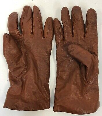 Womens Brown Saks Fifth Avenue Genuine Leather Cashmere Lined Gloves Size 7.5