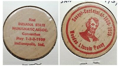 1959 Wooden Nickel ☆ First Indiana State Numismatic Association