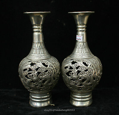 24cm Collectable China Old Silver Handmade animal dragon Phoenix Vase Sculpture