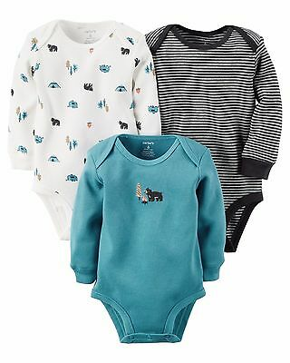 carter's baby boy camping bear theme long sleeve Thermal bodysuits 3p turquoise