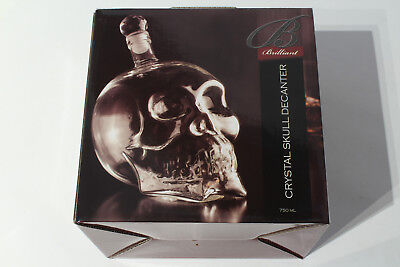 Crystal Skull Bottle Decanter 750ml / 25oz - Alcohol Liquor Container Brilliant