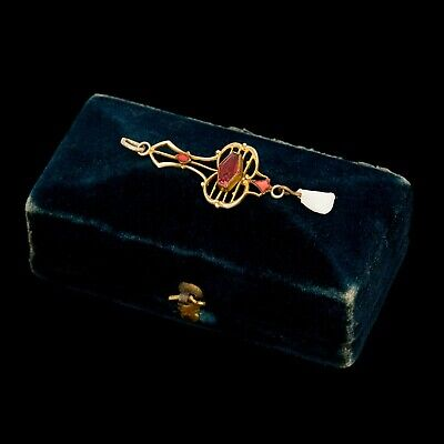 Antique Vintage Victorian 14k Gold Filled GF Faux Red Ruby Pearl Charm Pendant