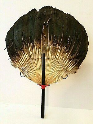 "Vintage Victorian Bird Feather Hand Fan 15"" x 11"""