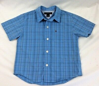 Tommy Hilfiger Boys Blue Plaid Short Sleeve Button Down Shirt Size 3T