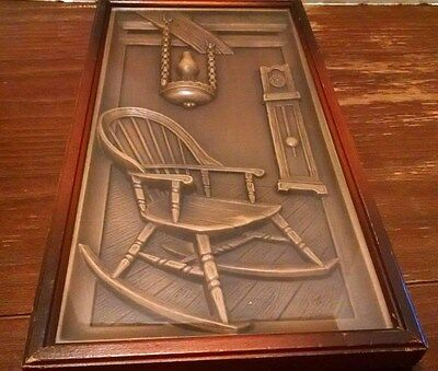 VINTAGE TMC CHICAGO  ROCKING CHAIR LANTERN GRANDFATHER CLOCK FRAMED 3D USA Brass