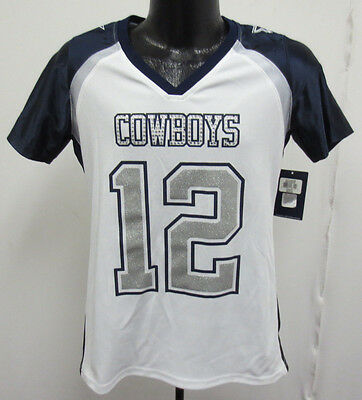 Dallas Cowboys Ladies Rhinestone Medium Nfl Football Stauback 12 Glitter Shirt