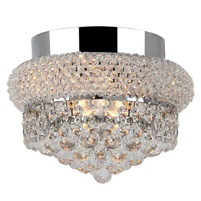 """USA French Empire 3 Light Clear Crystal Flush Mount Ceiling Light 8"""" x 6"""" Small"""