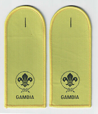 PAIR MASTER SCOUT LEADER SCOUTS OF GAMBIA // GAMBIAN EPAULETTES PATCH