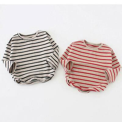 Spring autumn Baby Girls Boys Shirt Long Sleeve Stripe Tops Soft cotton Toddler