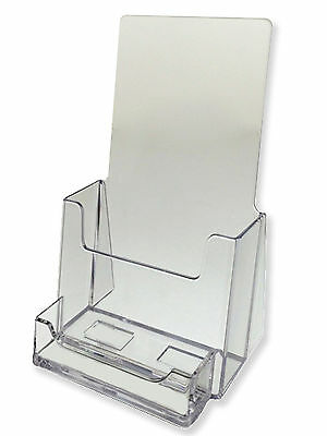 10 Pack Clear Tri Fold Brochure Holder With Business Card AZM Displays ON SALE