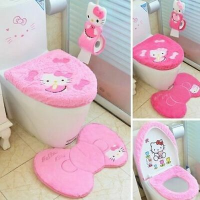 75066d295 Hello Kitty Cute Bathroom Toilet Seat Lid Cover Bath Mat Holder Tissue  Holder