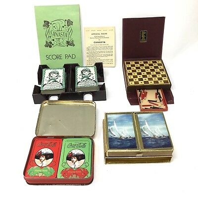 Vtg Family Game Night Lot Canasta Checkers Coca-Cola Snoopy Playing Cards +