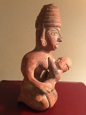 Pre Columbian Mayan Aztec Mexican Pottery Sculpture Mother with Child 9""