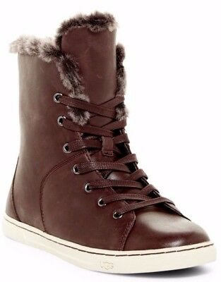 6f7e77d9728 UGG WOMENS CROFT Luxe Quilt High Top Sneaker Leather Sheepskin Boot Brown  Size 6