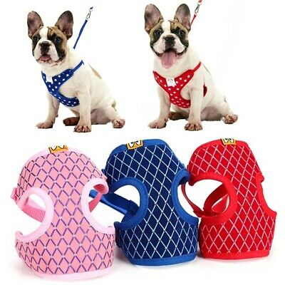 Puppy Pet Mesh Harness Vest Leash Set Small Dog Cat Soft Walk Out Strap Collar