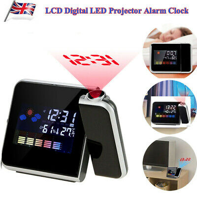 LED Digital Projection Alarm Clock Radio Weather Thermometer Snooze Backlight KF