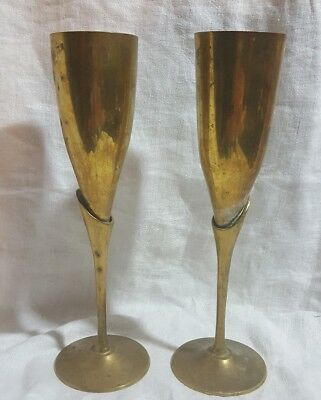 Vintage Brass Flutes 2 Champagne Glasses Pair of Two Brass Base Silverplate Cup