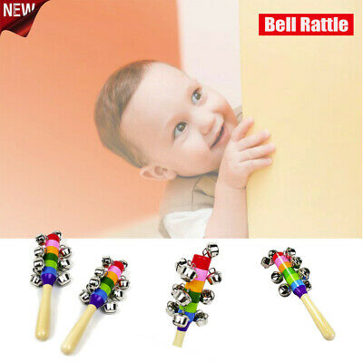 Rainbow Musical Instrument Baby Kid Toy Wooden Hand Jingle Ring Bell Rattle Sale
