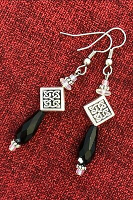 Celtic Knot Crystal Earrings Bead Irish Good Luck Surgical Steel Hooks Pewter