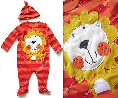 Next Baby Boy Girl Unisex Cute Applique Lion footed one piece w hat 2pc set