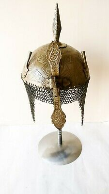 Indo Persian Mughal Islamic Script Engrave Iron khula khud Helmet  with stand