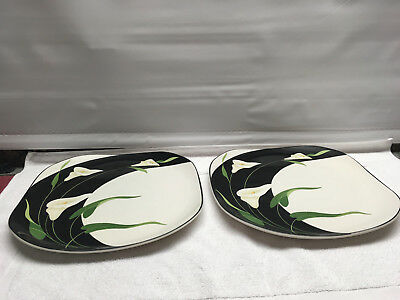 Sango black lilies 5101 dinner plates floral quadrille semi porcelain  set 2