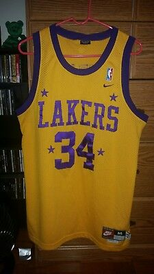 0b4094caafe RARE Nike NBA Los Angeles Lakers 57 Rewind Shaquille O'Neal #34 Mens Jersey