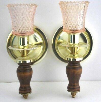 SET OF 2 Brass Tone Wood Wall SCONCES CANDLE HOLDERS Pink Glass Votives VTG