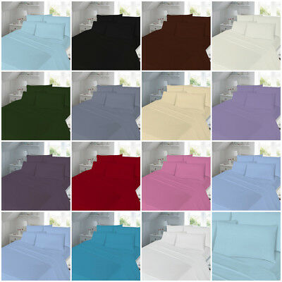 Poly-Cotton Percale Fitted Bed Sheet Plain Dyed Single Double King Pillowcases