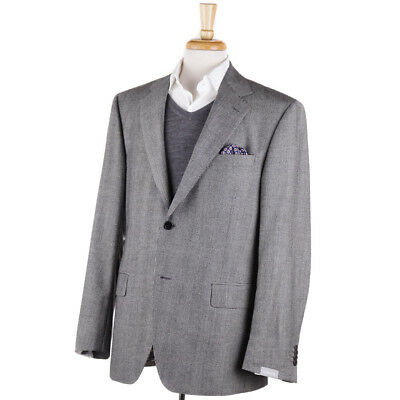 NWT $1495 CANTARELLI Light Gray Glen Plaid Wool Sport Coat Slim 44 R