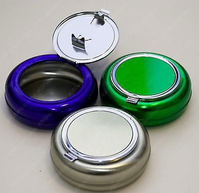 PICK 1pc silver blue or green mini metal portable ashtray with lid