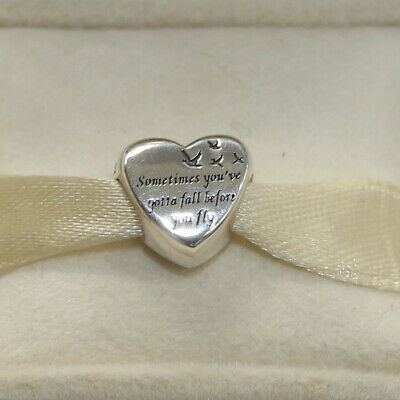New Authentic Pandora Charm Heart Of Freedom 791967 Bead W Tag & Suede Pouch