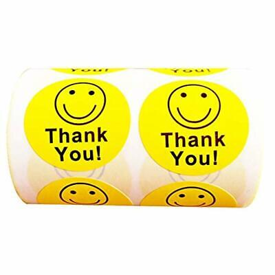 """Thank You Circle Smile Smiley Face 1.5""""Round Stickers 1 Roll/500 Labels Per Roll"""