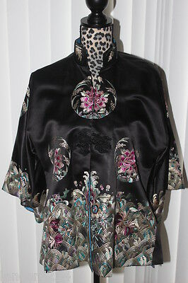 Vintage Antique Chinese Hand Embroidered Women's Robe 100% Silk Sz L