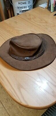 d6dfd3c1179 KAKADU TRADERS Brown Leather Hat  9H12 Size L Braided Australian Product
