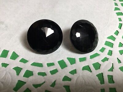 Pretty Pair Of Vintage Faceted Black Jet Glass Clip On Earrings Nice