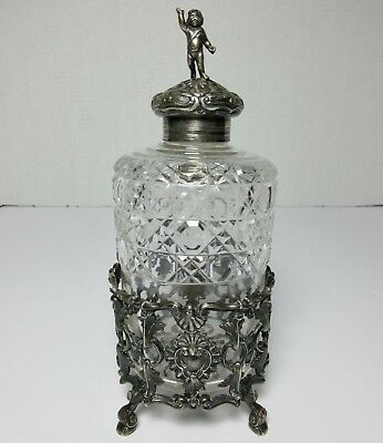 LARGE ENGLISH STERLING SILVER & CUT GLASS BOTTLE on STAND F. BRASTED Antique
