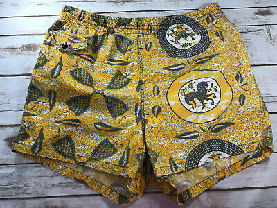 Vtg Robert Bruce Mens 36 1960 60s Swim Trunks Bathing Suit Yellow Zodiac Shorts