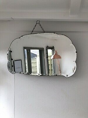 Vintage Mirror art deco beveled edged frameless Cloud mirror with Hanging chain