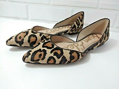 6ee8b783a9e9 Sam Edelman Rodney 7.5 M 37.5 Flat Pointed-Toe Leopard Calf Hair Shoes Slip  On