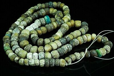 Ancient Egyptian faience mummy iridescent Blue Green Glass beads 600-300 B.C. ,