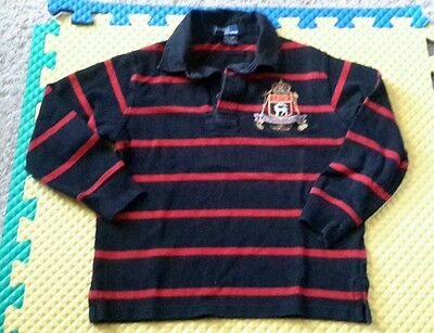 Polo Ralph Lauren Long Sleeves Shirt Black Red Stripes Cotton Boys 5